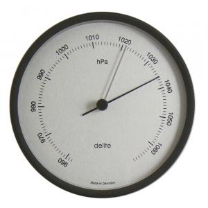 Clausen Barometer i poleret rustfrit stål m. hvid skive